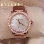 Bvlgari-71 高貴奢華女士新款施華洛世奇水鑽系列電鍍玫瑰金白色貝母表面鋼帶款腕錶