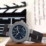 Bvlgari-65 時尚商務男士藍色DLC防刮磨表面跑秒功能緞紋精鋼節橡膠進口石英腕錶