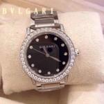Bvlgari-72 高貴奢華女士新款施華洛世奇水鑽系列電鍍閃亮銀黑色貝母表面鋼帶款腕錶