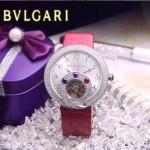 Bvlgari-61 時尚創意珠寶系列閃亮銀玫紅色鑲鑽飛輪顯示316L精鋼錶殼皮帶款自動機械腕錶