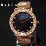 Bvlgari-79 高貴奢華女士新款施華洛世奇水鑽系列電鍍土豪金黑色貝母表面鋼帶款腕錶