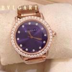 Bvlgari-80 高貴奢華女士新款施華洛世奇水鑽系列電鍍玫瑰金紫色貝母表面鋼帶款腕錶