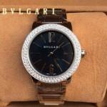Bvlgari-92 名媛必備新款珍寶系列閃亮銀黑底鑲鑽藍寶石鏡面316L精鋼錶殼日本石英腕錶