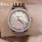 Bvlgari-69 高貴奢華女士新款施華洛世奇水鑽系列電鍍閃亮銀白色貝母表面鋼帶款腕錶