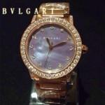 Bvlgari-75 高貴奢華女士新款施華洛世奇水鑽系列電鍍土豪金幻彩貝母表面鋼帶款腕錶
