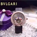 Bvlgari-60 時尚創意珠寶系列土豪金黑色鑲鑽飛輪顯示316L精鋼錶殼皮帶款自動機械腕錶