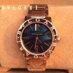 Bvlgari-88 名媛必備新款珍寶系列土豪金藍寶石鏡面316L精鋼錶殼日本石英腕錶