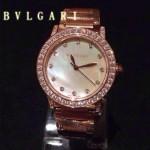Bvlgari-83 高貴奢華女士新款施華洛世奇水鑽系列電鍍土豪金白色貝母表面鋼帶款腕錶