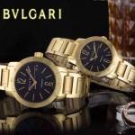 Bvlgari-43 人氣熱銷單品古羅馬元素土豪金黑底情侶款瑞士ETA2824機械腕錶