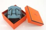 HERMES 00132 愛馬仕天藍色平紋手鐲手帶