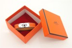 HERMES 00129 愛馬仕經典鎖扣橙色十字紋銀扣單圈手帶
