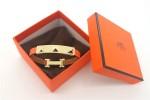 HERMES 00114 愛馬仕朋克鉚釘橙色十字紋金面手鐲手帶