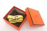 HERMES 00160 愛馬仕黃色十字紋金扣雙圈手鐲手帶