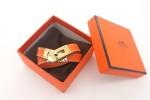 HERMES 00151 愛馬仕橙色平紋金扣雙圈手鐲手帶