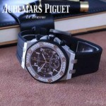 AP-077 新款皇家橡樹黑色316L精鋼錶殼藍寶石鏡面多功能進口石英腕錶