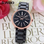 RADO-020 名媛必備淑女風女士玫瑰金黑色陶瓷系列進口石英腕錶
