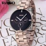 RADO-09 潮流新款COUPOLE晶燦系列四針設計玫瑰金黑底鑲鑽316鋼殼石英腕錶