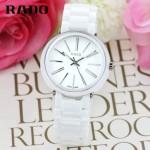 RADO-016 名媛必備淑女風女士閃亮銀白色陶瓷系列進口石英腕錶