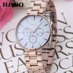 RADO-08 潮流新款COUPOLE晶燦系列四針設計玫瑰金白底316鋼殼石英腕錶