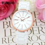 RADO-017 名媛必備淑女風女士玫瑰金白色陶瓷系列進口石英腕錶