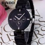 RADO-06 潮流新款COUPOLE晶燦系列四針設計槍色黑底鑲鑽316鋼殼石英腕錶