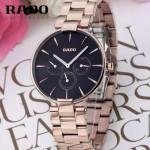RADO-010 潮流新款COUPOLE晶燦系列四針設計玫瑰金黑底316鋼殼石英腕錶