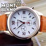 MONTBLANC 015 明星周渝民同款時光行者系列橙色土豪金白底皮帶款原裝石英腕錶