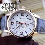 MONTBLANC 016 明星周渝民同款時光行者系列灰色土豪金白底皮帶款原裝石英腕錶