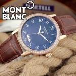 MONTBLANC 010 時尚潮流商務男士藍面藍寶石鏡面瑞士ETA2824機械腕錶