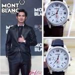 MONTBLANC 017 明星周渝民同款時光行者系列閃亮銀白底皮帶款原裝石英腕錶