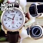 MONTBLANC 014 明星周渝民同款時光行者系列土豪金白底皮帶款原裝石英腕錶