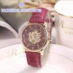 VC-08 時尚女士新款玫紅色配玫紅底藍寶石鏡面超強夜光全自動雕花機械腕錶