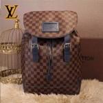 LV N41337-4 歐美時尚新款男士Runner咖色棋盤格配藍色皮束口雙肩包書包