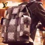 LV N41379-2 專櫃最新款男士Christopher黑色棋盤格配麻繩塗鴉小號多功能雙肩包書包