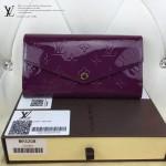 LV M93208 時尚新款女士紫色漆皮壓花原版皮搭扣長款錢包