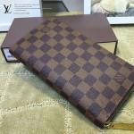 LV N60003-2 熱銷百搭經典款zippy咖色棋盤格原版皮多功能手拿包錢包