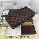 LV N41503 時尚商務休閒男士咖色棋盤格原版皮多功能手拿包錢包