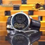 JAEGER-017-5 新款商務精英男士閃亮銀藍寶石鏡面自動機械腕錶