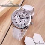 JAEGER-016-10 時尚潮流女士約會系列白色閃亮銀VK進口石英腕錶
