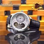 JAEGER-017-6 新款商務精英男士閃亮銀藍寶石鏡面自動機械腕錶