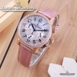 JAEGER-016-7 時尚潮流女士約會系列粉色土豪金鑲鑽VK進口石英腕錶