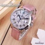 JAEGER-016-12 時尚潮流女士約會系列粉色閃亮銀VK進口石英腕錶
