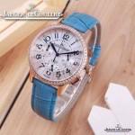 JAEGER-016-4 時尚潮流女士約會系列天藍色土豪金鑲鑽VK進口石英腕錶