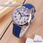 JAEGER-016-16 時尚潮流女士約會系列藍色閃亮銀VK進口石英腕錶