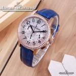JAEGER-016-2 時尚潮流女士約會系列藍色土豪金鑲鑽VK進口石英腕錶