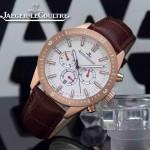 JAEGER-018-3 新款男士六針設計土豪金白底多功能跑秒礦物質強化玻璃石英腕錶