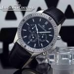JAEGER-018-2 新款男士六針設計閃亮銀黑底多功能跑秒礦物質強化玻璃石英腕錶