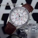 JAEGER-018 新款男士六針設計閃亮銀白底多功能跑秒礦物質強化玻璃石英腕錶