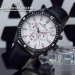 JAEGER-018-4 新款男士六針設計槍色白底多功能跑秒礦物質強化玻璃石英腕錶
