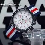 JAEGER-018-6 新款男士六針設計槍殼白底配紅白藍織帶多功能跑秒石英腕錶